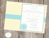 Chevron Baby Sprinkle FULL Printable Baby Shower Collection- Invite, Party Tags, Bunting Banner, Station Cards
