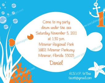 Under the Sea Birthday Invitation - Pricing includes PRIORITY shipping