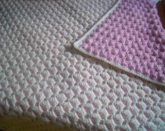 Crochet reversible baby afghan, handmade two colors crocheted blanket, double face crocheted blanket for stroller, crib, MADE TO ORDER