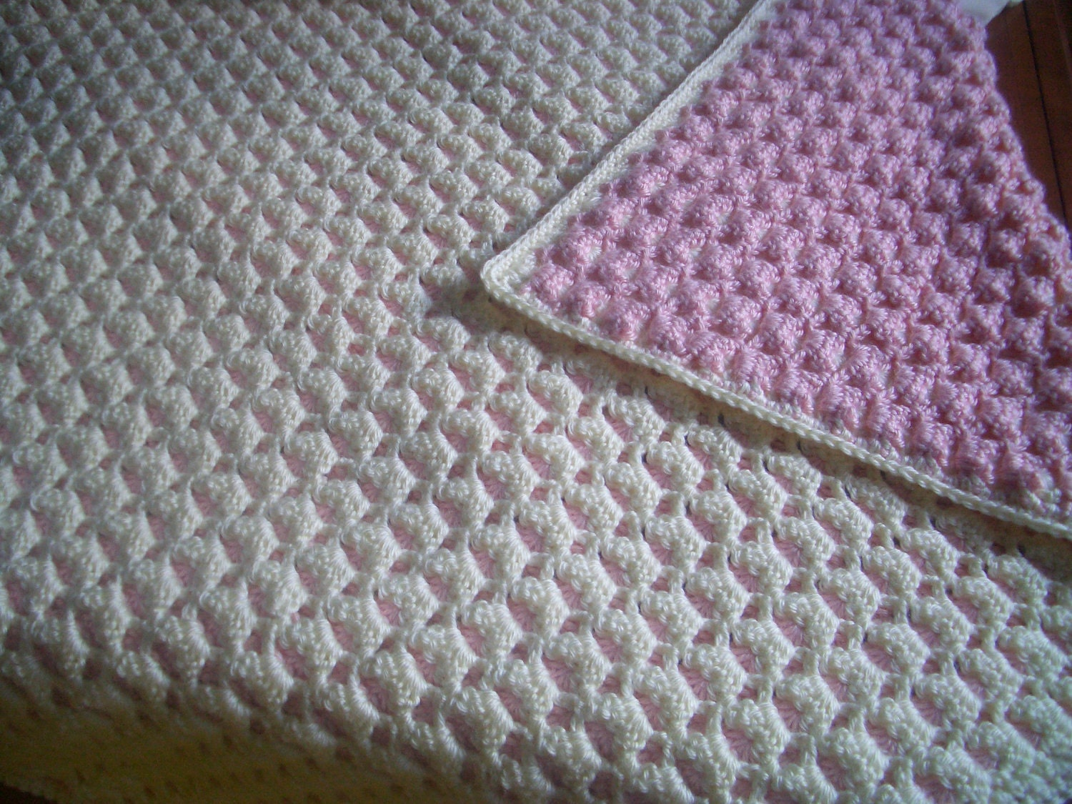 Crochet reversible baby afghan handmade two colors crocheted zoom bankloansurffo Image collections