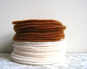 "30 pcs, 3"" Hand cut Fabric Circles - Ivory and Brown  - Felt"