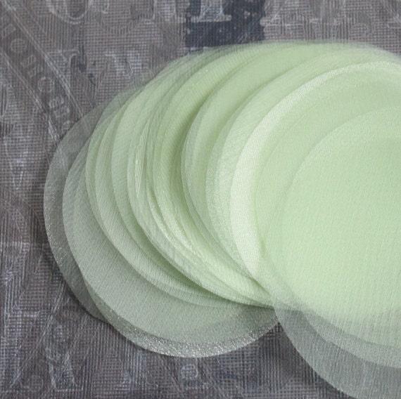 30 pcs 3 inches Hand cut Fabric Circles -  Light Green - Organza