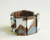 Gray and White Hand Painted Walnut Wood Bracelet with Hex  Nuts