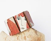 Hand Painted Red and White Walnut Wood Bracelet