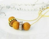 Beaded Necklace Mustard Yellow Chunky  Wood Bead  Necklace