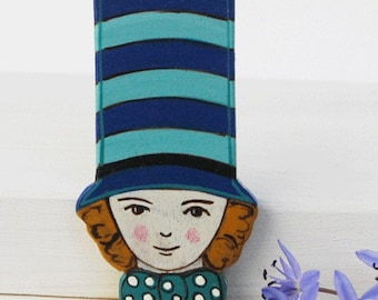 Little Magician Hand Painted Brooch on Wood
