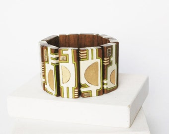 Statement  Bracelet Wooden  Bracelet Walnut Wood Bracelet Geometric Jewelry    Hand Painted Bracelet Gold White