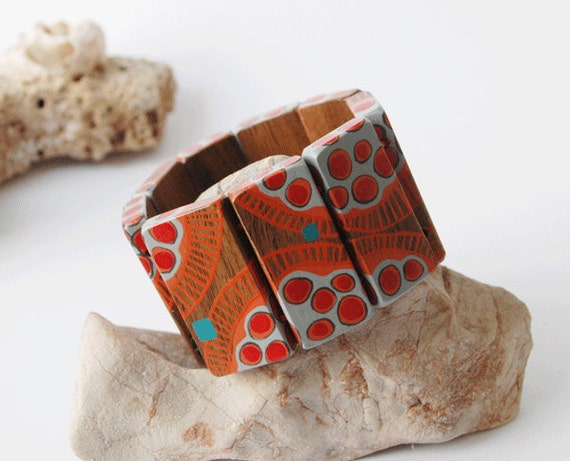 Orange and Red Hand Painted Wooden Bracelet Beaded Wood Bracelet