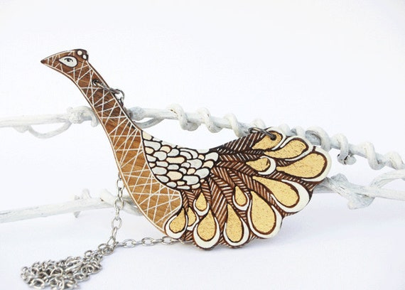 Reserved for Hanna White and Gold Peacock Hand Painted on Wood Wearable Art