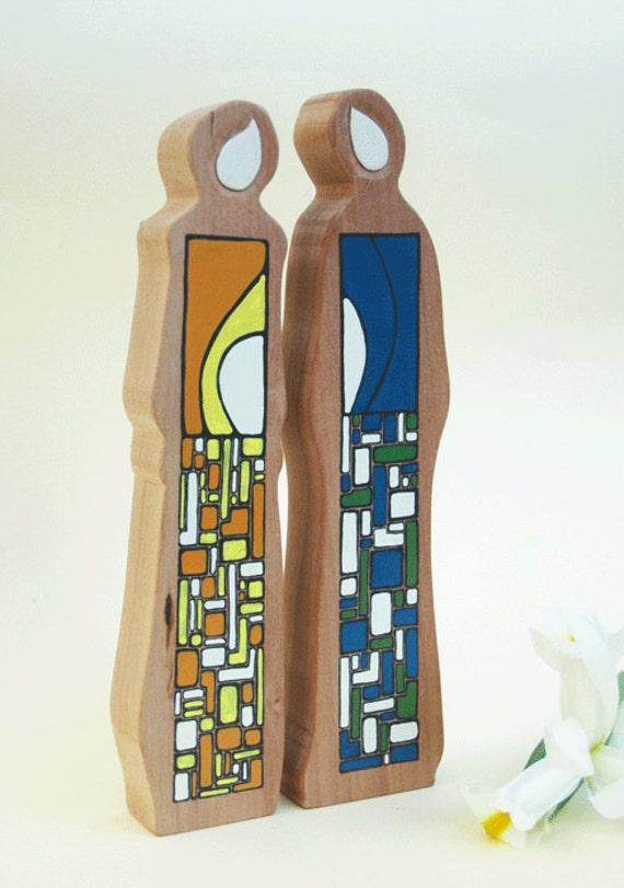 Bound Forever Unique Wooden  Figurines Wedding Shower Gift Original Art Anniwersary Gift