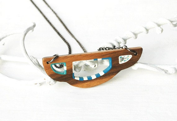 Geometric Necklace  Abstract  Wooden Pendant Necklace