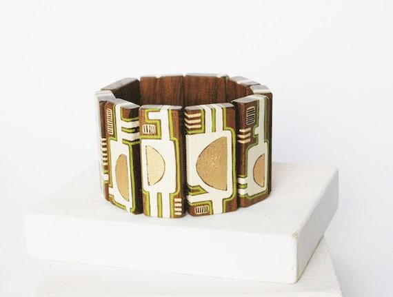 Statement  Bracelet Wooden  Bracelet Walnut Wood Bracelet Geometric Jewelry    Hand Painted Bracelet Gold White