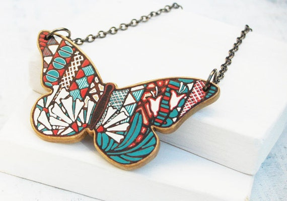 Butterfly Necklace  Wooden Art Pendant Wood Necklace Animal Necklace Woodland Necklace