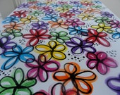 Multi Color Rainbow Flower Dots Glossy - Acrylic Painting 16 x 20
