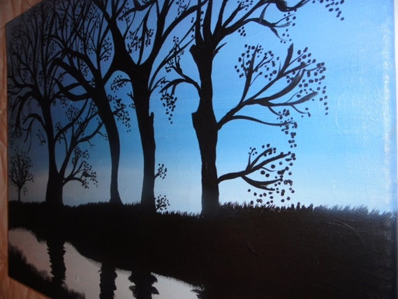 Spooky Trees Silhouette - Acrylic Painting 16 x 20
