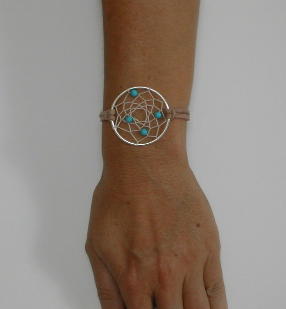 Native American Turquoise Dreamcatcher Bracelet, Native American Inspired Bracelet