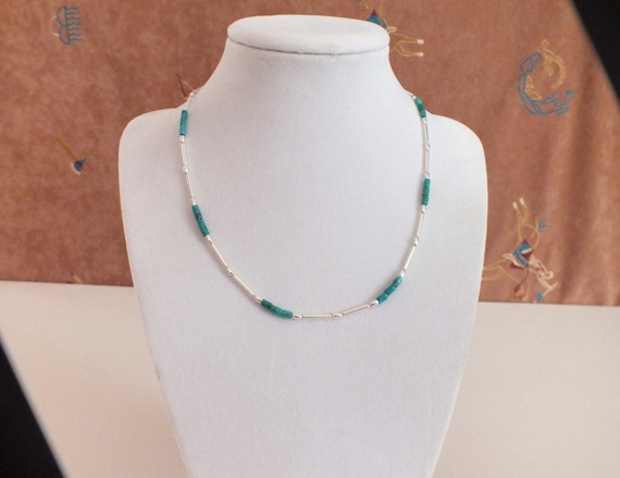 Liquid Silver and Turquoise Heishi Choker Necklace