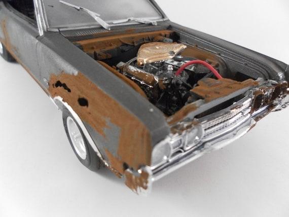 1966 Oldsmobile cutlass 442 1/24 scale model car in grey