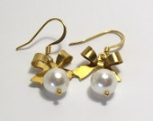 Brass Ribbons and Pearl Earrings