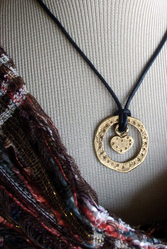 Golden Heart inside a Circle Pendant Black cord Necklace