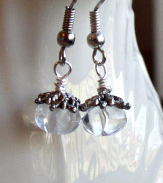 Translucent Pumpkin Shaped Vintage Glass Jewels topped with Silver bead cap earrings