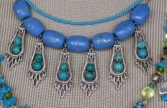 Striking Electric Blue and turquoise beaded necklace
