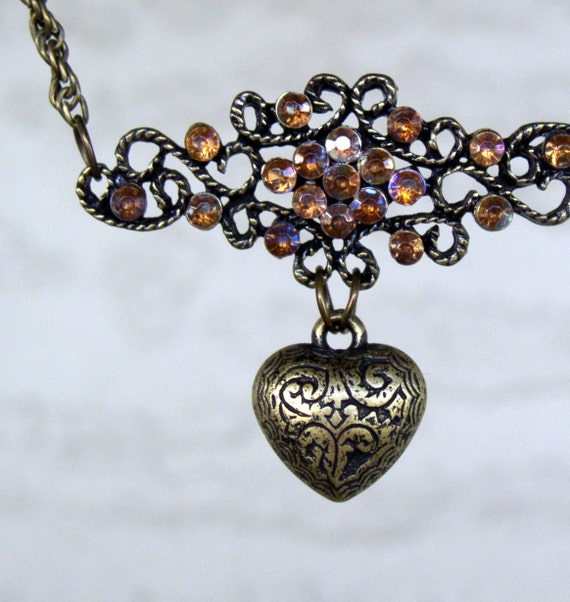 Topaz Rhinestone with Heart Pendant and bronze necklace