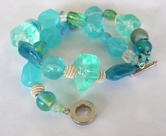 Aqua Chunky Beaded Convertible Choker or Bracelet