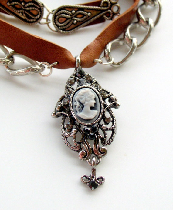 Black and Grey Cameo Pendant and Leather Choker