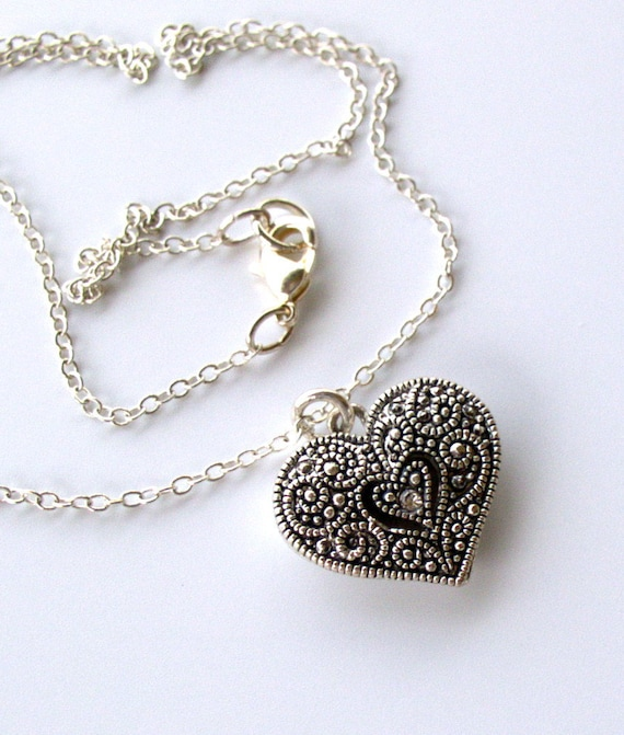Small Marcasite Heart Pendant and Sterling Silver Necklace
