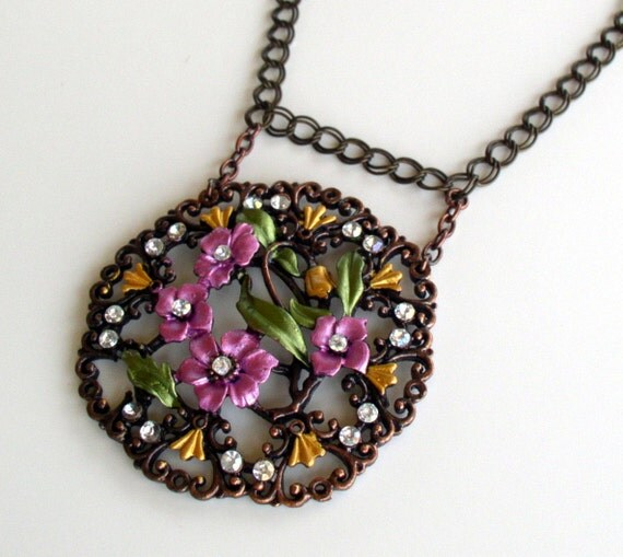 RESERVED Magnificent Large Purple Floral Pendant Necklace in Brass and Copper tones