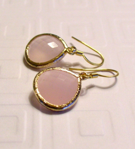 Gold framed Ice Pink Faceted earrings