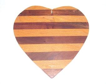 Heart cutting board -  made from Oak and walnut