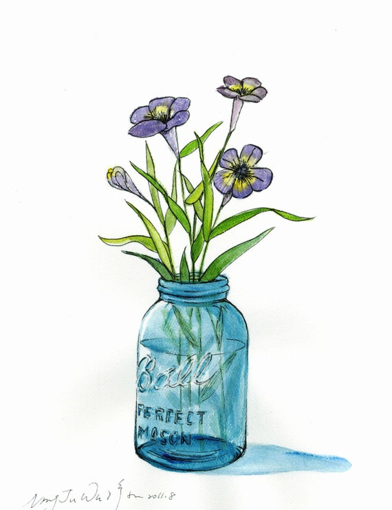 "Little Purple In Mason Jar -- ORIGINAL Watercolor painting 9""x12"""
