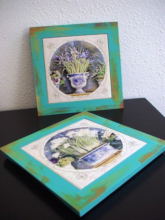 Floral Tiles with wooden frame ( set of 2)