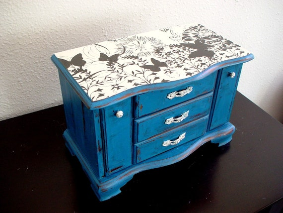 Butterfly Navy Blue Wooden Jewelry Box (Music box)