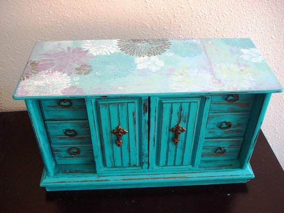 Large Flora Turquoise Wooden jewelry box