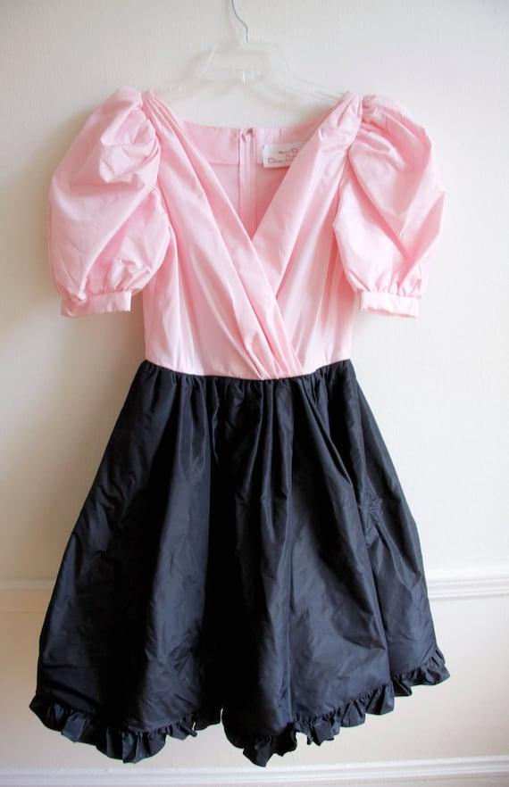 Oscar de la Renta Vintage Black & Pink Silk Puff Retro 50s 80s Cocktail Swing Dress