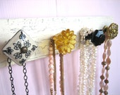 Jewelry Rack with Glass, Ceramic, and Vintage Brass Knobs