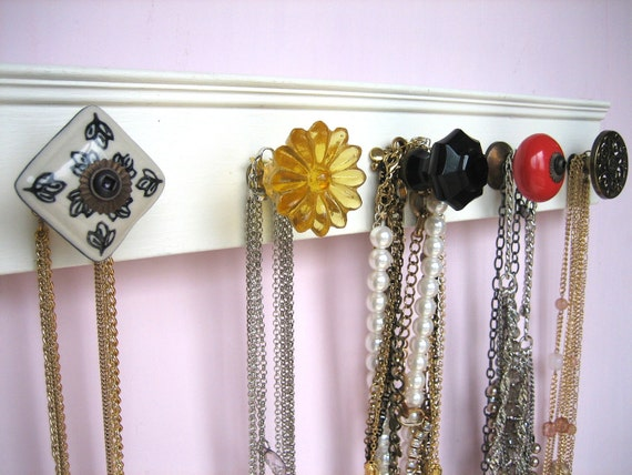 Dorm Room Jewelry Rack With Assorted Knobs By