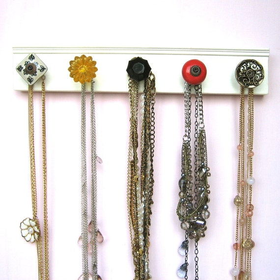 Dorm Room Jewelry Rack With Assorted Knobs