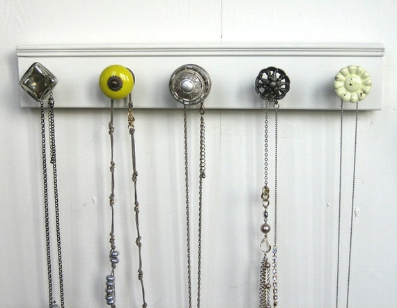 Necklace Rack / Jewelry Storage with Shades of Gray and Yellow
