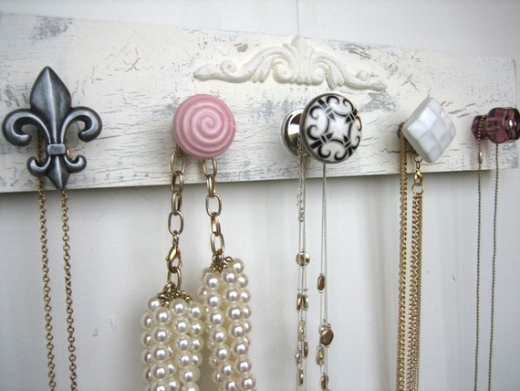 Jewelry Rack: Wood Necklace Holder with Carved Wood Trim