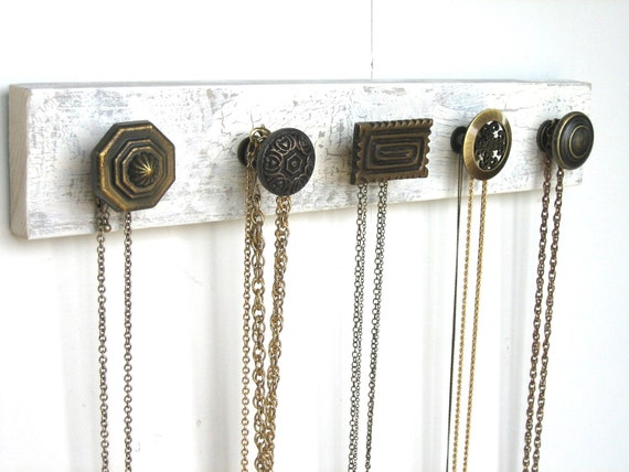 Necklace Display / Jewelry Storage Organizer with 5 Unique Brass Knobs