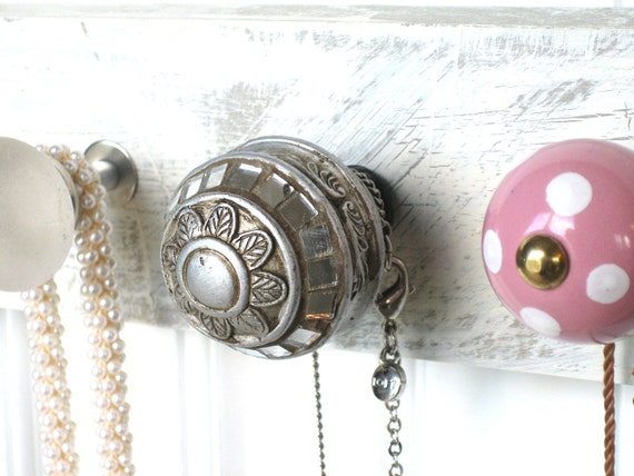 Herb Drying Rack or Necklace Holder with Silver, Purple, and Pink Knobs