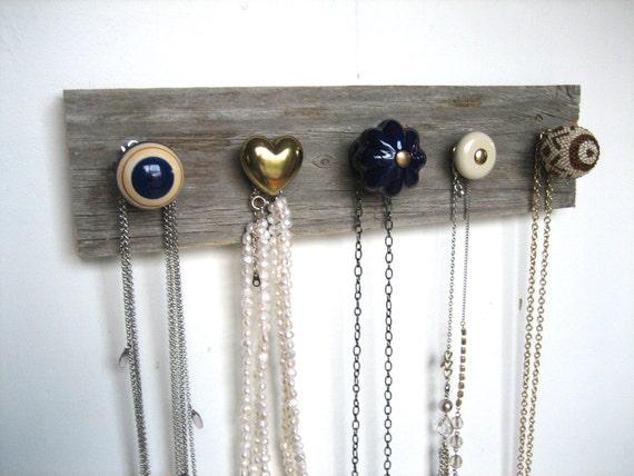 Necklace Organizer Jewelry Rack on Reclaimed Barn Wood