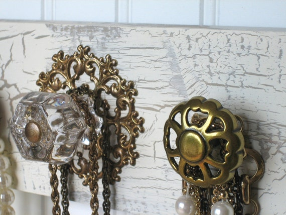 Necklace Display / Wall Mounted Jewelry Organizer with Brass, Black, and Glass Knobs