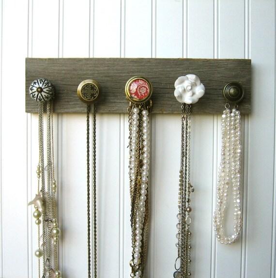 Necklace Organizer Display on Barn Wood