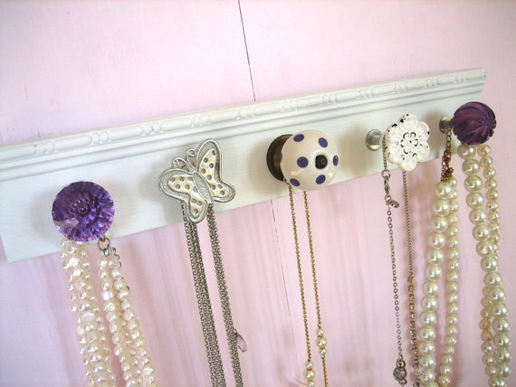 Accessories Organizer / Jewelry Rack with Lavender and White Knobs