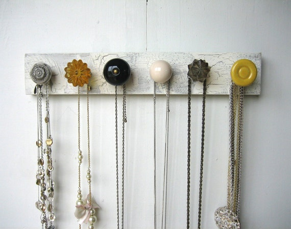 Hanging Jewelry Organizer with Yellow and Gray Knobs